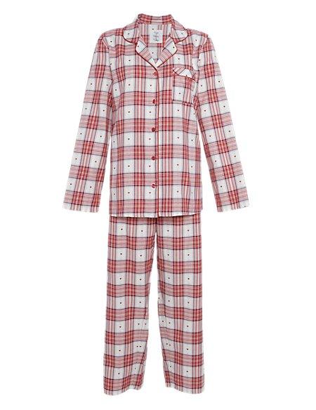 Pure Cotton Revere Collar Dobby Checked Pyjamas