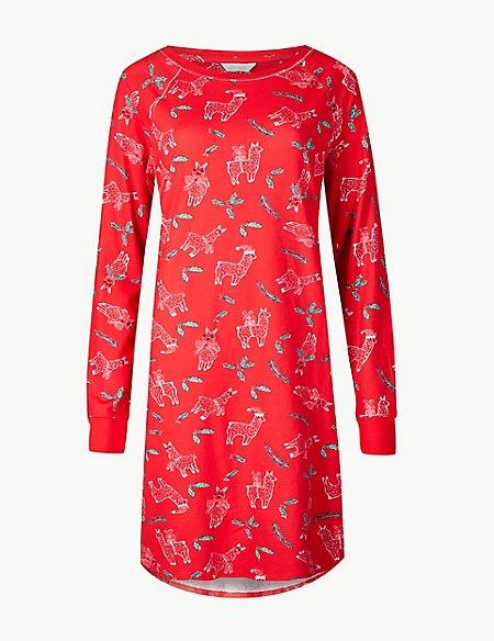 Cotton Rich Llama Print Nightdress