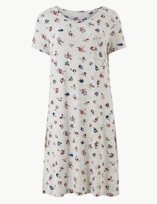 3903b81582 Floral Textured Short Nightdress | M&S Collection | M&S
