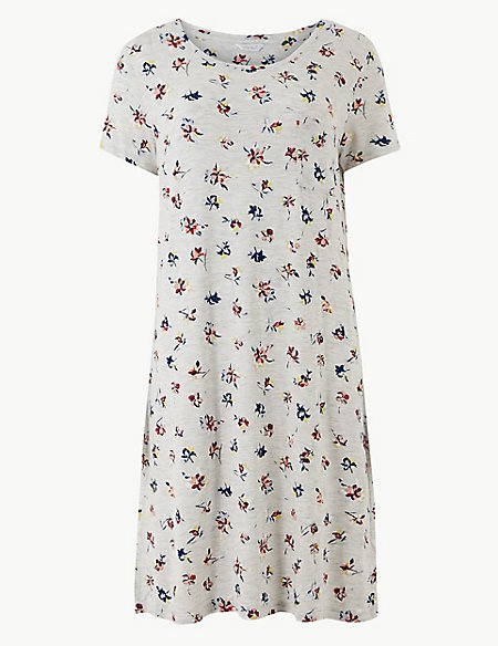 Floral Textured Short Nightdress