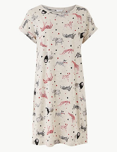 Cotton Rich Animal Print Nightdress