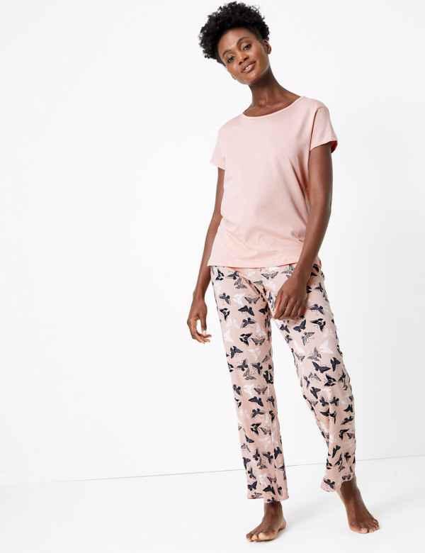 10 12 14 16 18 20 M/&S LADIES Pyjama Bottoms WOMENS PURPLE Lace Trim