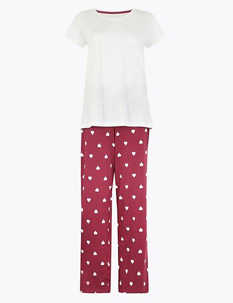 Pure Cotton Heart Print Pyjama Set