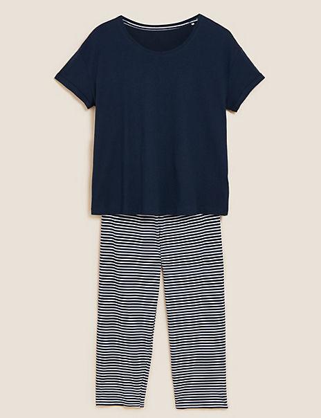 Cotton Striped Cropped Pyjama Set