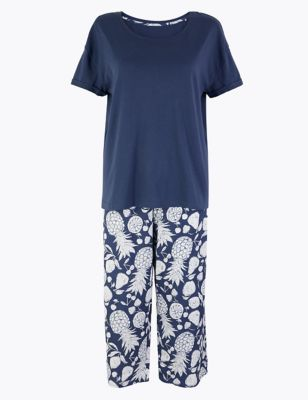 Pure Cotton Fruit Print Cropped Pyjama Set