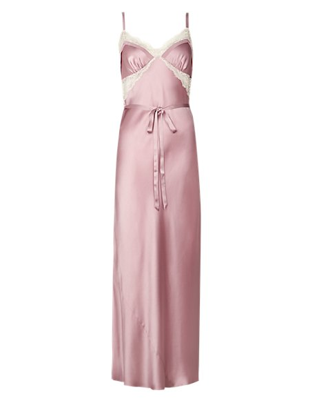 Pure Silk Long Nightdress with French Designed Lace