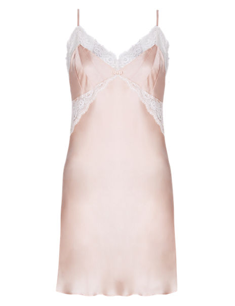 Pure Silk Chemise Nightdress with French Designed Lace