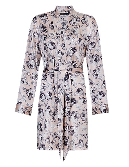 Pure Silk Rose Print Belted Wrap Dressing Gown