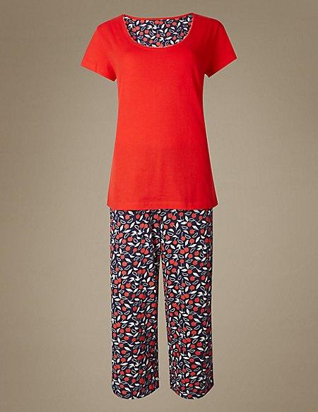 Pure Cotton Cherry Print Pyjama Set