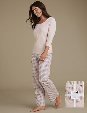 Pure Cotton Printed ¾ Sleeve Pyjama Set, GREY MIX, catlanding