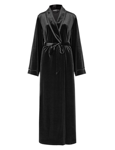 Shawl Collar Velour Long Dressing Gown Autograph Ms