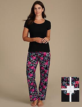 Pure Cotton Printed Short Sleeve Pyjama Set, BLACK MIX, catlanding