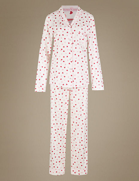 Pure Cotton Revere Collar Heart Print Pyjamas