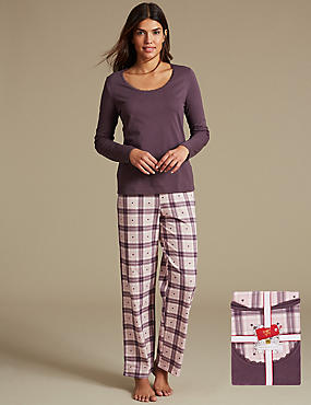 Pure Cotton Checked Long Sleeve Pyjamas with StayNEW™