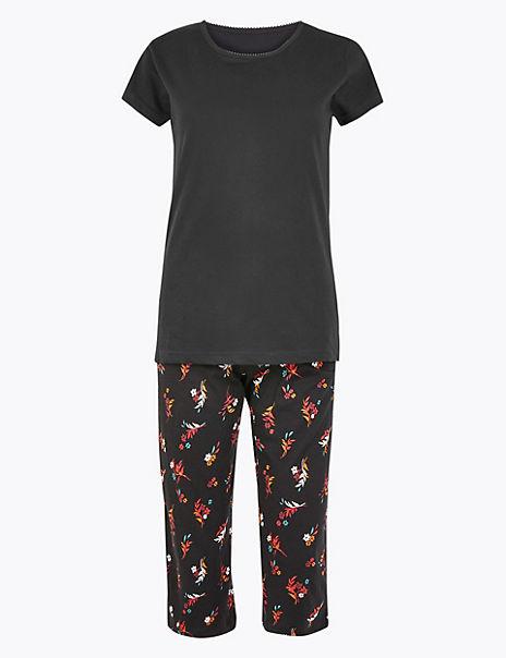 Pure Cotton Floral Cropped Leg Pyjama Set