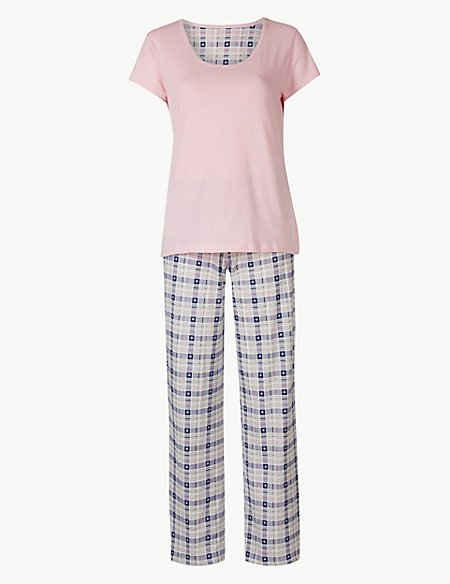 Pure Cotton Checked Short Sleeve Pyjama Set