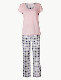 Pure Cotton Checked Short Sleeve Pyjamas