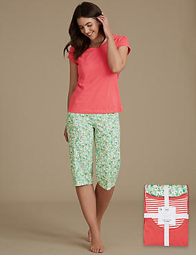 Pure Cotton Cropped Short Sleeve Pyjama Set, GREEN MIX, catlanding