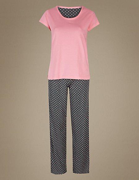 Pure Cotton Spot Short Sleeve Pyjamas Set