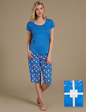 Pure Cotton Flamingo Print Pyjama Set, PINK MIX, catlanding