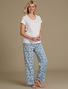 Pure Cotton Printed Short Sleeve Pyjama Set , LIGHT BLUE, catlanding