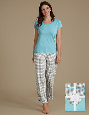Pure Cotton Gingham Short Sleeve Pyjama Set