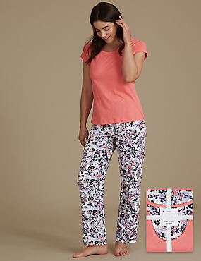 Pure Cotton Printed Short Sleeve Pyjama Set, LAVENDER, catlanding