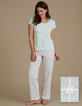 Pure Cotton Printed Short Sleeve Pyjama Set, SAGE MIX, catlanding