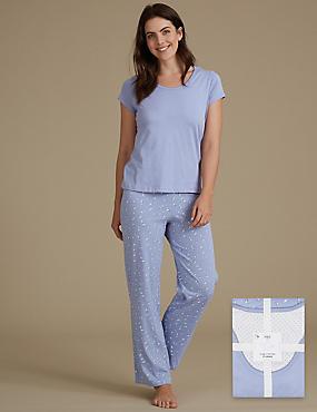 Pure Cotton Printed Short Sleeve Pyjama Set, SOFT BLUE, catlanding