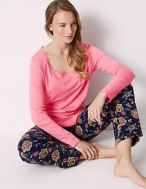 Pure Cotton Floral Print Pyjama Set , NAVY MIX, catlanding