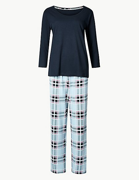 Pure Cotton Checked ¾ Sleeve Pyjama Set