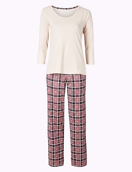 Pure Cotton Check Print ¾ Sleeve Pyjama Set