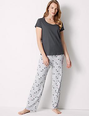 Pure Cotton Panda Print Pyjama Set, GREY MIX, catlanding