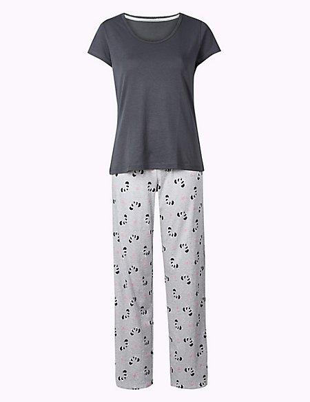 Pure Cotton Panda Print Pyjama Set