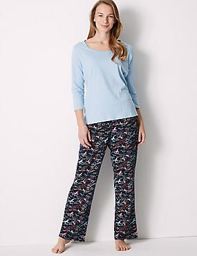 Pure Cotton Unicorn Print ¾ Sleeve Pyjama Set, NAVY MIX, catlanding