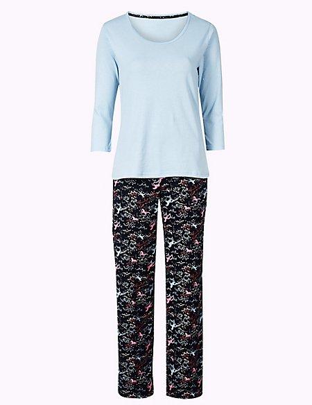 Pure Cotton Unicorn Print ¾ Sleeve Pyjama Set
