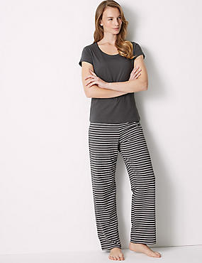 Pure Cotton Striped Pyjama Set, DARK GREY MIX, catlanding