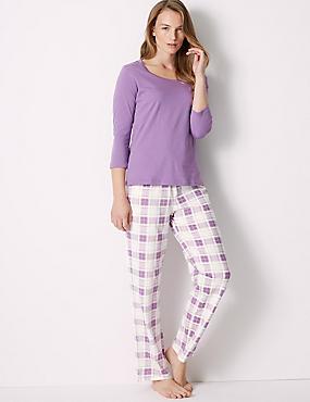 Pure Cotton Checked Pyjama Set, PURPLE MIX, catlanding