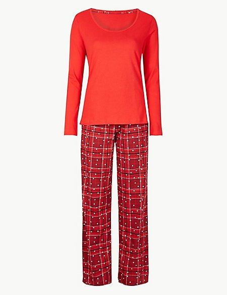 Pure Cotton Checked Long Sleeve Pyjama Set