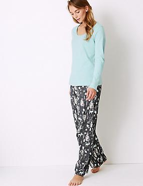 Pure Cotton Woodland Print Pyjama Set, GREY MIX, catlanding