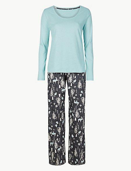 Pure Cotton Woodland Print Pyjama Set