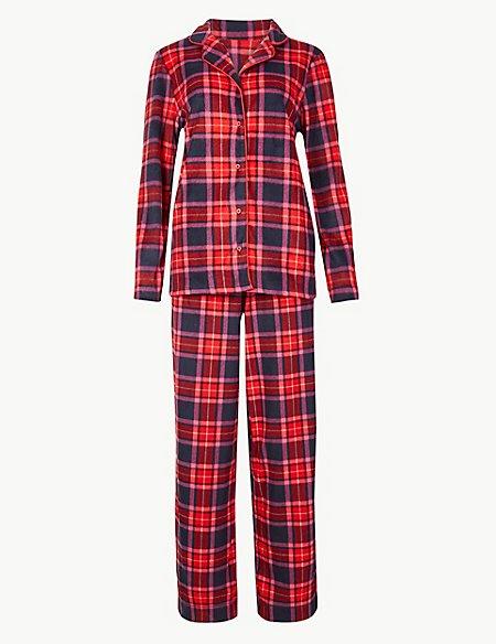 Fleece Checked Long Sleeve Pyjama Set
