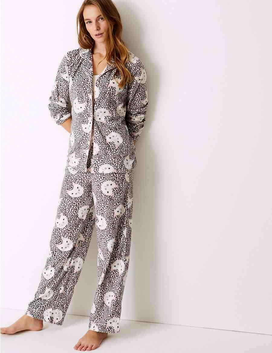 3f979c0f1 Fleece Cat Print Long Sleeve Pyjama Set