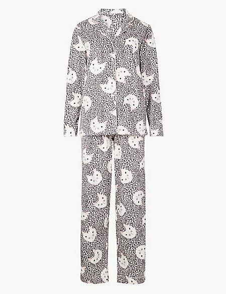 Fleece Cat Print Long Sleeve Pyjama Set