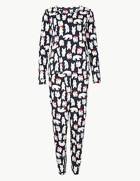 Fleece Polar Bear Print Pyjama Set