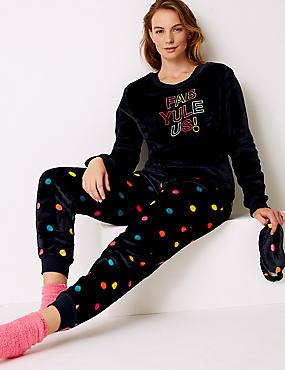 Fleece Printed Long Sleeve Pyjama Set