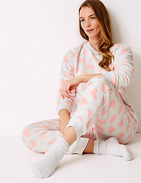 Fleece Heart Print Long Sleeve Pyjama Set, GREY MIX, catlanding