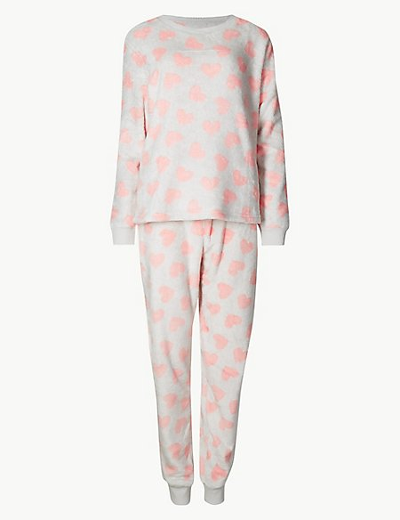 ff58bec5a5ea Fleece Heart Print Long Sleeve Pyjama Set