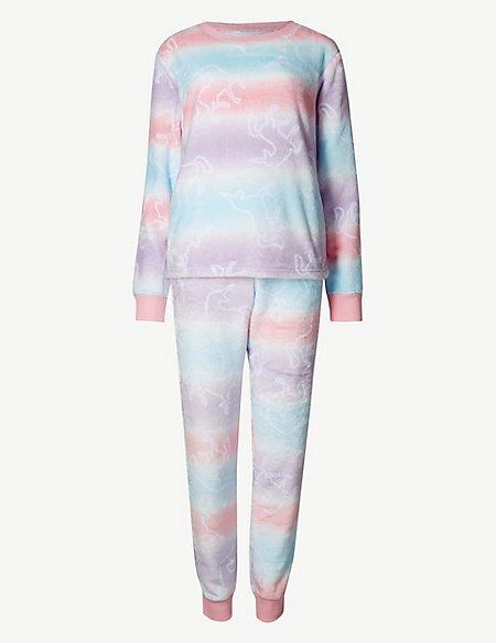 Fleece Unicorn Print Long Sleeve Pyjama Set