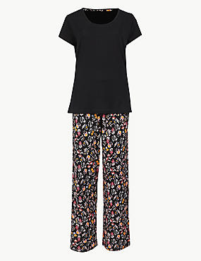 Pure Cotton Floral Print Pyjama set, BLACK MIX, catlanding